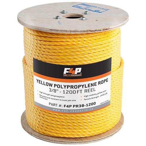 F4P 3/8'' Yellow Polypropylene Rope - 300FT Reel